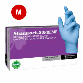 Shamrock Nitrile Exam Gloves Powder Free Textured Blue 3.5 Mil - M