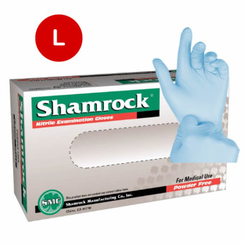 Shamrock Nitrile Exam Gloves Powder Free Textured Blue 5Mil - L