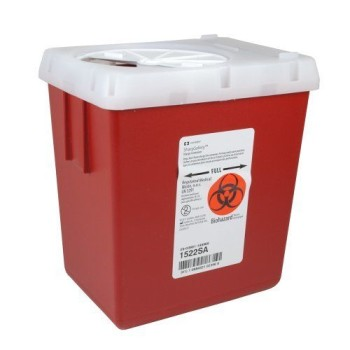Covidien Sharps Containers Phlebotomy Red AutoDrop 2.2Qt 1522SA